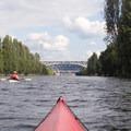 Paddling east in the Fremont Cut.- Lake Washington Ship Canal Sea Kayaking