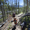 The trail to Yellow Belly Lake climbs along the edge of the outlet creek for the first quarter of a mile.- Yellow Belly Lake