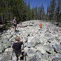 Further along the trail is this curious pile of river boulders.- Yellow Belly Lake