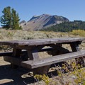 Picnic in the high country before the winding drive to Devil's Postpile Monument.- Minaret Vista