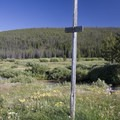 """The trail traverses the meadow, but it fades quickly. Hikers shoud look for this tall """"trail"""" sign to indicate the way. It is common to feel a little lost in the vast expance of meadow grasses and meandering creeks.- Elk Meadow + Elizabeth Lake"""