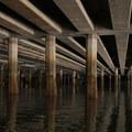 An overpass along the Duwamish Waterway.- Duwamish Waterway Sea Kayaking
