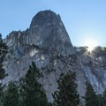 The Sentinel monolith towers above the trailhead.- Four Mile Trail to Glacier Point