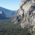 Westward views towards Cathedral Rocks and El Capitan.- Four Mile Trail to Glacier Point