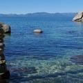 Blue waters of Lake Tahoe.- Secret Cove + Chimney Beach Loop