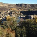 View from above the park with the falls in the distance.- Shoshone Falls Park