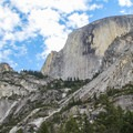 A vertical view of Half Dome from the Mirror Lake - Tenaya Canyon Loop Trail.- Mirror Lake Loop