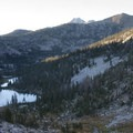 Looking down onto Lake 8,779 from the Snowyside Divide.- Toxaway Lake, Sand Mountain Pass + Snowyside Divide