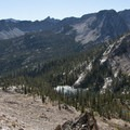 Looking onto Edith Lake from the Imogene Divide.- Edith Lake and Sand Mountain Divide