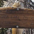 Trail signs at the Sand Mountain Divide.- Edith Lake and Sand Mountain Divide