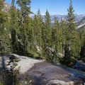 Granite slabs along the trail descending to the Farley/Toxaway Trail.- Edith Lake and Sand Mountain Divide