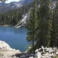 Looking down onto Edith Lake.- Edith Lake and Sand Mountain Divide