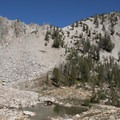 Edith Lake Trail below the Imogene Divide.- Edith Lake and Sand Mountain Divide