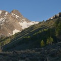 Thompson Peak and William Peak (just peeking out on the right) can be seen from the Fishook Creek Trail.- Fishhook Creek