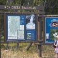 Kiosk at the Iron Creek Trailhead.- Goat Lake via the Alpine Way Trail