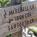 Junction sign at the Alpine Way/Sawtooth Lake junction.- Goat Lake via the Alpine Way Trail