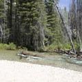 The Stanley Lake Creek crossing in early July.- Stanley Lake Creek + Bridal Veil Falls