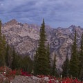 Fall colors at the end of the day near the summit of Observation Peak.- Stanley Lake Creek , Observation Peak + Divide