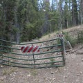 "Gate at the end of the old Salmon Headwaters Road.- Smiley Creek to Big Smoky ""Loop"""