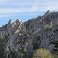 Sheer and jagged granite formations along the Tamarak Peak Loop.- Tamarack Peak Loop