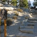 Turn right up the stairs.- Tamarack Peak Loop