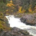 Viewing the falls from the rock platform just downstream.- Sol Duc River Salmon Cascades