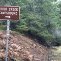 Trout Lake Creek Campground turnoff.- Trout Lake Creek Campground
