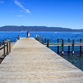 The park pier is well suited for swimming and fishing.- Sugar Pine Point State Park