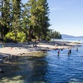 The park's shoreline is home to a welcoming stretch of sandy beach. - Sugar Pine Point State Park