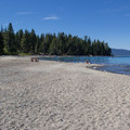 View north along the park's expansive beach toward Sugar Pine Point.- Sugar Pine Point State Park