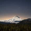 Mount Hood (11,249') under the moonlight.- Flag Point Fire Lookout