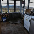 The wood stove in the lookout. Be sure to stock the wood bin for the next person before you leave..- Flag Point Fire Lookout