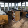 Alternate view from inside the lookout.- Flag Point Fire Lookout