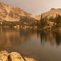 Sunset from north shore of Imogene Lake looking to the Imogene Divide.- Imogene Lake + Divide