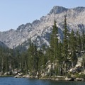 The convoluted shoreline of Imogene Lake.- Imogene Lake + Divide