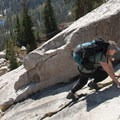 Scrambling up clean granite slabs toward Peak 10,336.- Imogene Lake + Divide