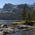 Looking across the outlet of Hell Roaring Lake.- Imogene Lake + Divide