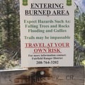 Burned area hazard sign at the South Fork and North Fork of Ross junction.- Johnson Creek to North Fork of the Ross Fork