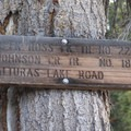 Trail sign at the Ross/Johnson junction at the head of Alturas Lake Creek Canyon.- Johnson Creek to North Fork of the Ross Fork