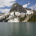 The lower Hansen Lake is tucked beneath Point 9,085.- Stanley Lake Creek to Hansen Lakes