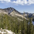 Payette Peak and Hidden Lake from near the Cramer Divide.- Sawtooth Mountains + Sawtooth Wilderness
