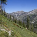 The upper Decker Creek Canyon was spared from severe burning in 2003. This is the view from the climb up and over to Grouse Creek.- Sawtooth Mountains + Sawtooth Wilderness