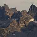 Warbonnet Spire and the North Face of Tohobit Peak can be inspected from the summit of Observation Peak.- Sawtooth Mountains + Sawtooth Wilderness