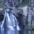 A stunning waterfall connects the upper and middle Cramer Lakes.- Sawtooth Mountains + Sawtooth Wilderness
