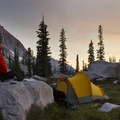 Enjoying the sunset from a camp at 9,200 feet in the north lobe of Flytrip Basin.- Sawtooth Mountains + Sawtooth Wilderness
