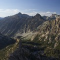 Looking down the Baron Creek drainage from a ridge above the lakes.- Sawtooth Mountains + Sawtooth Wilderness