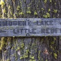 A weathered old trail sign.- Redfish Lake Loop, Grand Mogul Trail to Bench Lakes