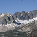 This view of the granite buttresses leading up to the Profile Lake basin beneath Cramer Peak is from the top of the Huckleberry Creek Trail.- Huckleberry Creek