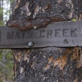 Trail sign in the forest along the Mays Creek Trail.- McDonald Lake to Mays Creek