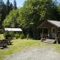 The three cabins at The Lost Resort.- The Lost Resort + Campground